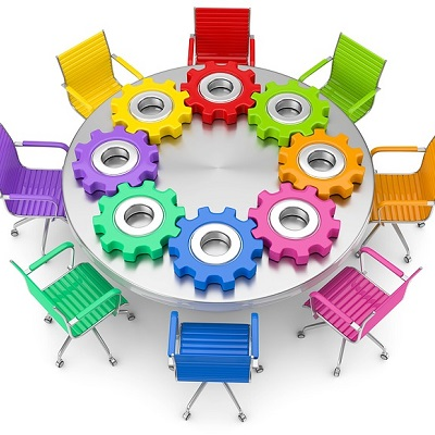 Office chairs built up with cogs